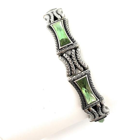 Lia Sophia Green and Silver Stretch Bracelet